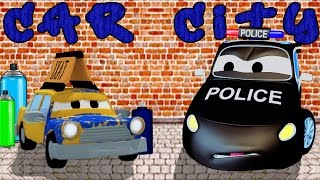The Car Patrol : fire truck and police car and the Paint's Stealer in Car City | Cars & Trucks