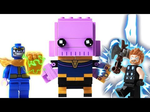 Lego Marvel Thanos Brick Headz Building Blocks to Break Down Thor - Superhero  Animation for Kids