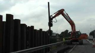Install sheet piles in traffic management