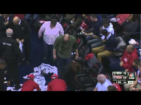 Mason Plumlee spills beers: Brooklyn Nets at Washington Wizards