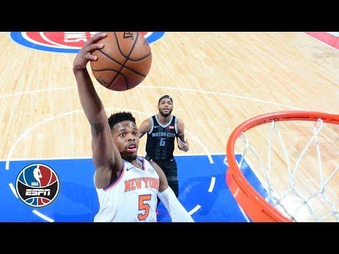Video: Dennis Smith Jr. flashes big dunks in Knicks' loss to Pistons | NBA Highlights