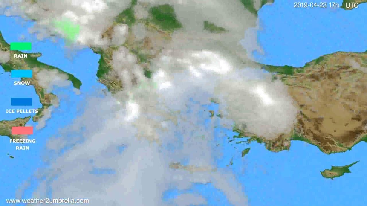 Precipitation forecast Greece // modelrun: 12h UTC 2019-04-21