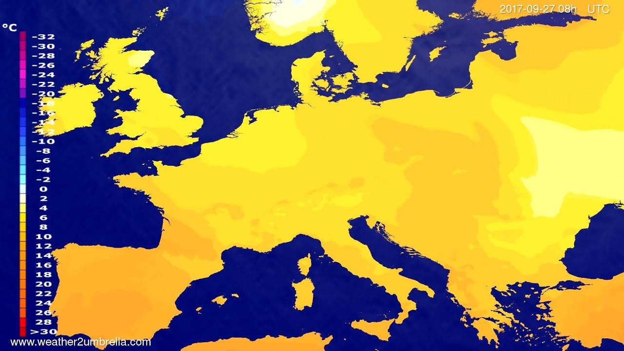 Temperature forecast Europe 2017-09-24