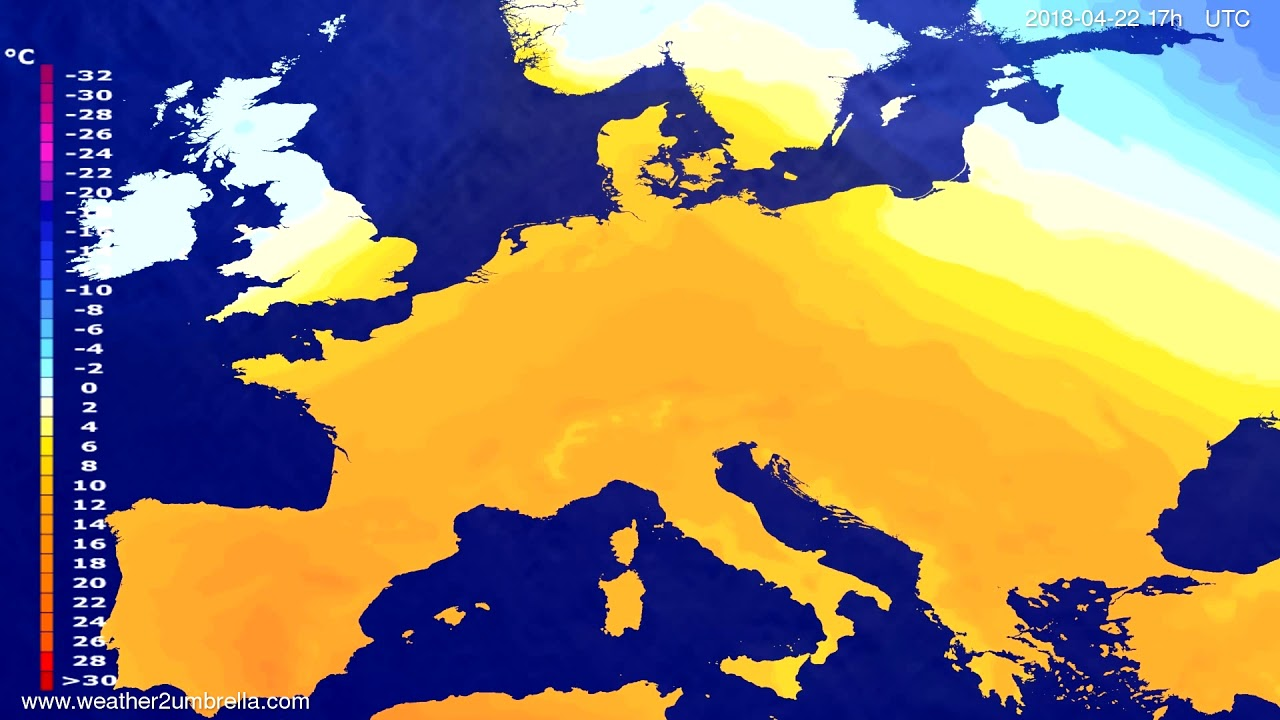 Temperature forecast Europe 2018-04-20