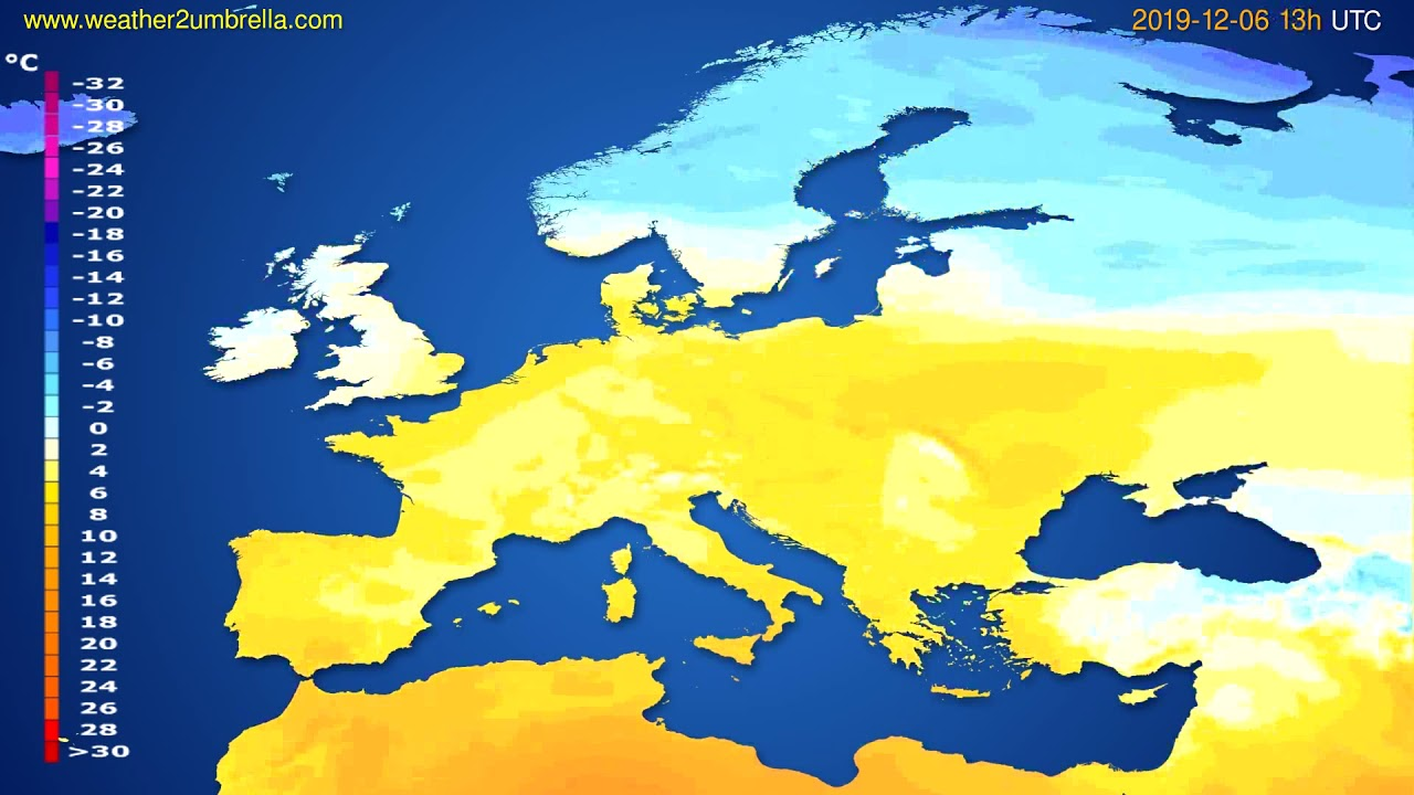Temperature forecast Europe // modelrun: 00h UTC 2019-12-05