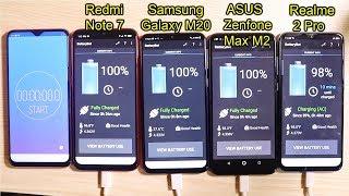 Redmi Note 7 vs Samsung Galaxy M20 vs Realme 2 Pro vs Asus Zenfone Max M2 battery test