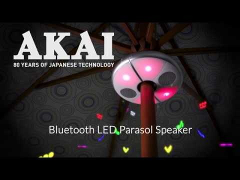 Akai Outdoor Waterproof Parasol Light with Built-In Bluetooth Stereo Speakers