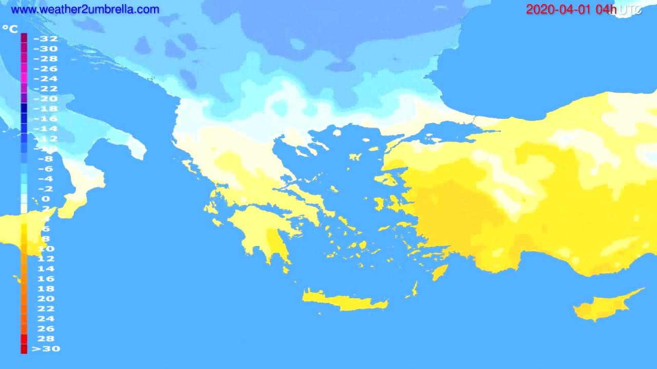Temperature forecast Greece // modelrun: 12h UTC 2020-03-31