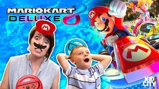 Hiya Kids! KIDCITY is having a blast with the Nintendo Switch, and we finally got Mario Kart 8 Deluxe! Today we're goin' head to head in the new Mario Kart 8...