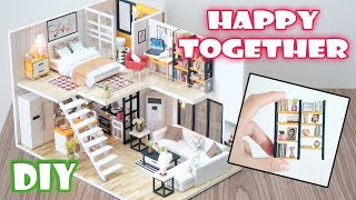 DIY Miniature Dollhouse Kit || Happy Together ( with full furniture and light )