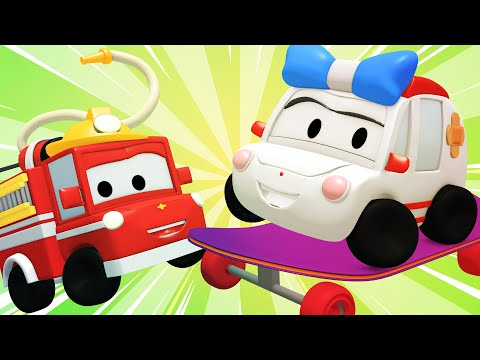 Tiny Town - SKATERS - Construction Cartoons for kids ! Bulldozer Excavator & Crane