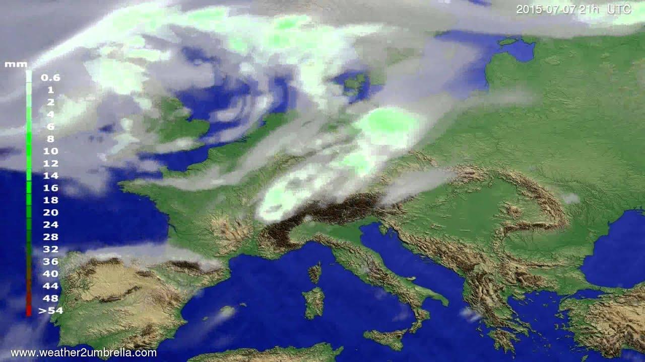 Precipitation forecast Europe 2015-07-05