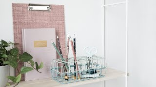 """By combining two wire baskets, Anna manages to create a smart desk organiser for her writing utensils. Have a look at the video in which you step-for-step can learn how to make your own. Find more inspiration for your desk here: http://sostrenegrene.com/campaigns/office-and-school Find the products from the video in your local Søstrene Grene shop.Remember to press the """"thumbs up"""" button and tell all your friends about this simple, but creative way of making gifts for your friends. You can also subscribe to our channel for notifications on Anna's DIY videos on fun craft projects. On our YouTube channel, you can find creative inspiration and tutorials on DIY projects, styling, painting and even cooking. All our videos aspire to encourage playfulness and creativity for all ages, kids and adults alike.Best regards,SØSTRENE GRENEFind further inspiration on our other social media channels:https://instagram.com/sostrenegrenehttps://facebook.com/sostrenegrenehttps://youtube.com/sostrenegrenehttp://pinterest.com/sostrenegrenesVideo timeline:Materials: 0:01Final product: 0:49"""