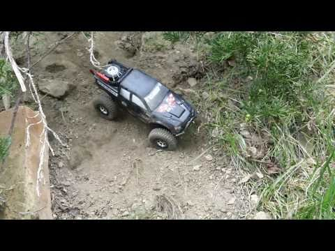 Losi Micro 1/24 scale Trail Trekker 4x4 on dirt trail