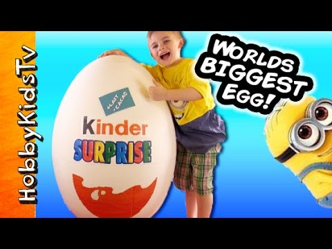 Worlds BIGGEST KINDER Egg SURPRISE! Minions TMNT Minecraft Toys Candy by HobbyKidsTV