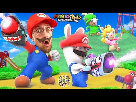SUPER HERO MARIO vs. PLAYGROUND RABBIDS Skit! FGTEEV plays Mario + Rabbids Kingdom Battle (Switch) (видео)