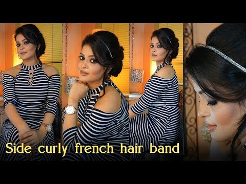 Curly hairstyles - Side Curly French Silver  Hair Band Hair Style  College party hair Bun