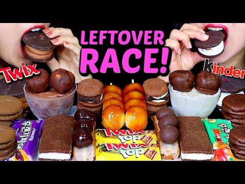 ASMR LEFTOVER DESSERT RACE! TWIX, DANGO, ICE CREAM, CHOCOLATE MARSHMALLOW, CHEESECAKE, MACARON 먹방