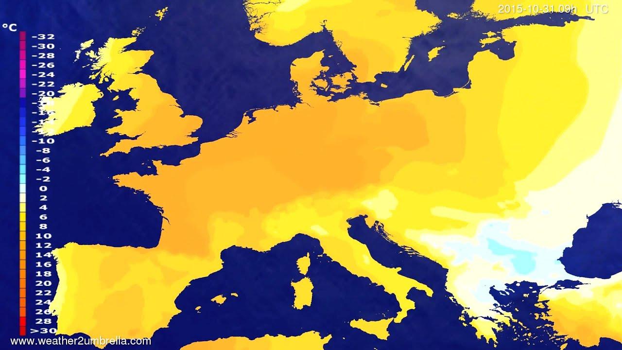 Temperature forecast Europe 2015-10-29