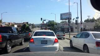 Time lapse Driving from Highland Blvd & Santa Monica Blvd in Hollywood to Baldwin Hills