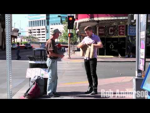 Magician Rips Up Homeless Mans Sign!