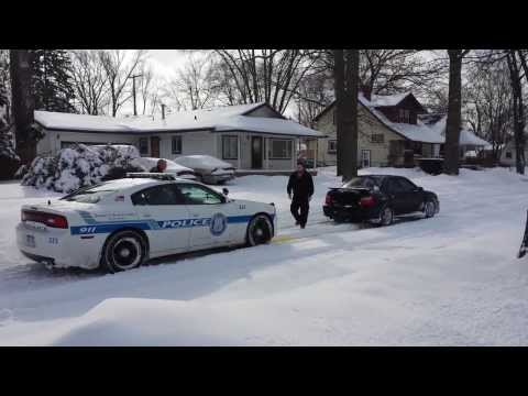 Subaru WRX Pulls Out Stuck Cop Car!