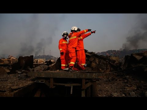 Смотреть онлайн: На месте взрыва в Тяньцзине возникают все новые пожары