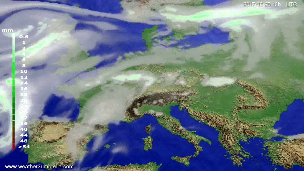 Precipitation forecast Europe 2017-08-22