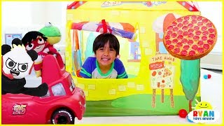 Ryan Drive Thru Pretend Play with Pizza + Power Wheels Ride On Car!!!