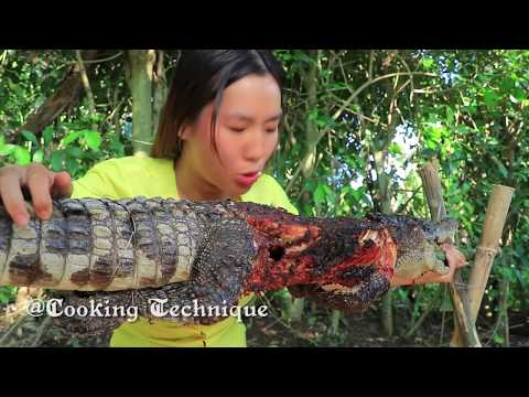 Cooking Technique: Cooking Big Crocodile With Secret Recipe Eating Delicious