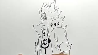 cara menggambar naruto kyubi / how to draw naruto kyubi mode