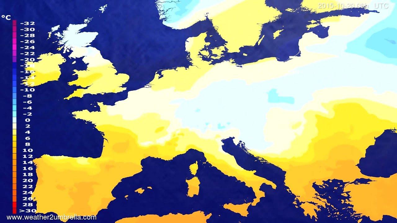 Temperature forecast Europe 2015-10-16