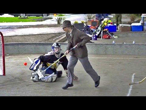 70 Year Old Floorball Man Dangles at Ball Hockey Game ft. Uncle Pav.