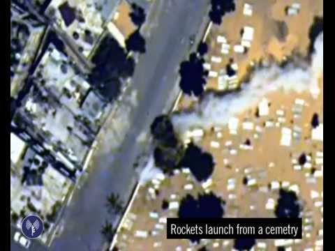 rocket - A Hamas terrorist can be seen firing a rocket at Israel from within a graveyard in Gaza. Hamas has continually abused Gaza's public areas as places to launch rocket attacks at Israel. Hamas...