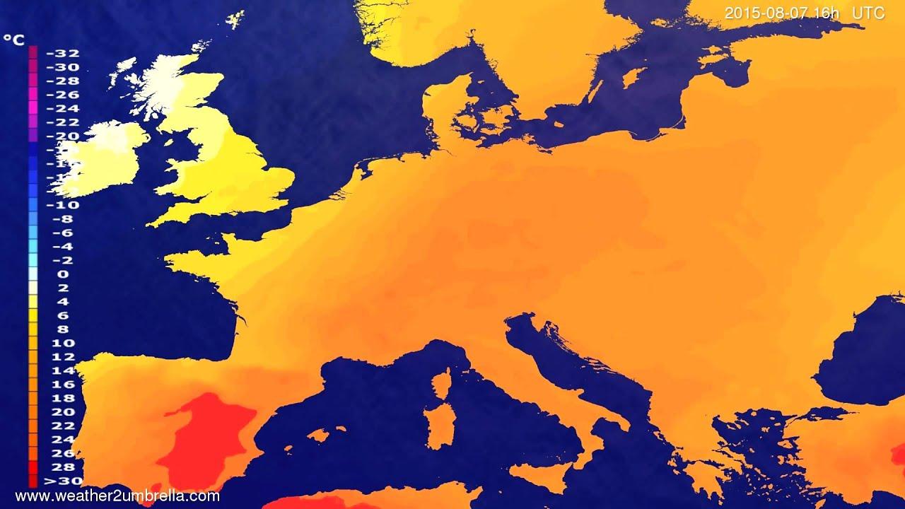 Temperature forecast Europe 2015-08-04