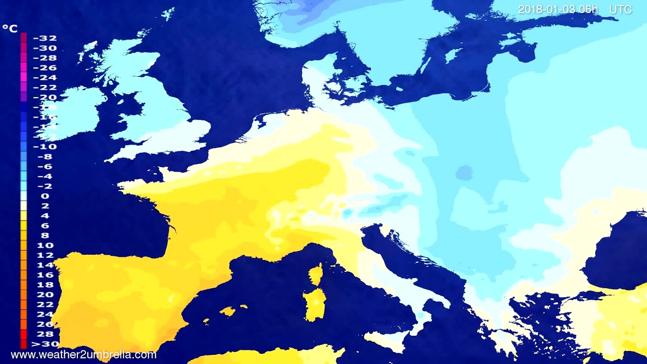 Temperature forecast Europe 2017-12-31