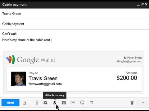 And - Using Gmail and Google Wallet, you can quickly and securely send money to friends and family within the U.S. Learn more at http://www.google.com/wallet.