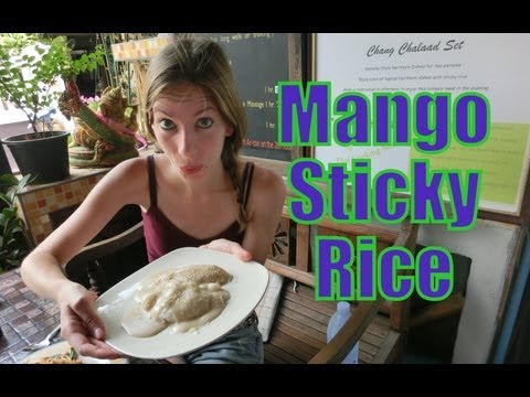 Eating Mango Sticky Rice Thai Dessert in Chiang Mai