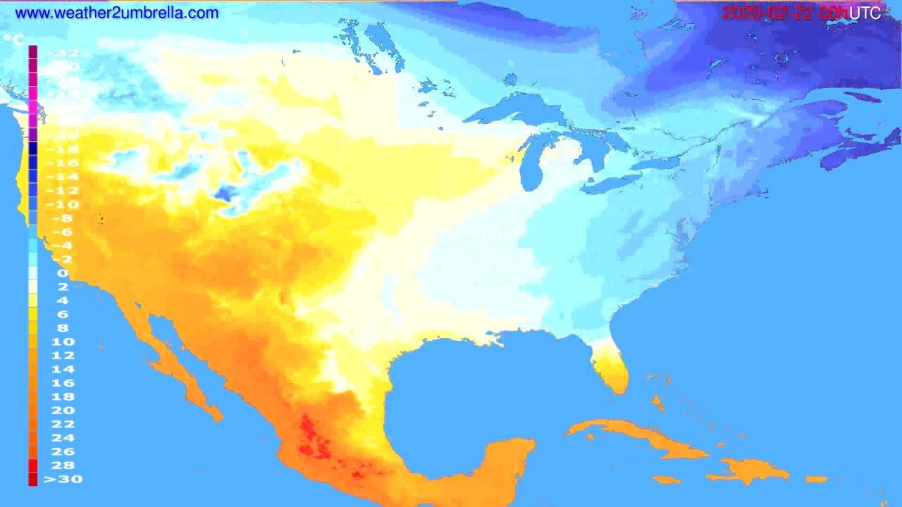 Temperature forecast USA & Canada // modelrun: 00h UTC 2020-02-21