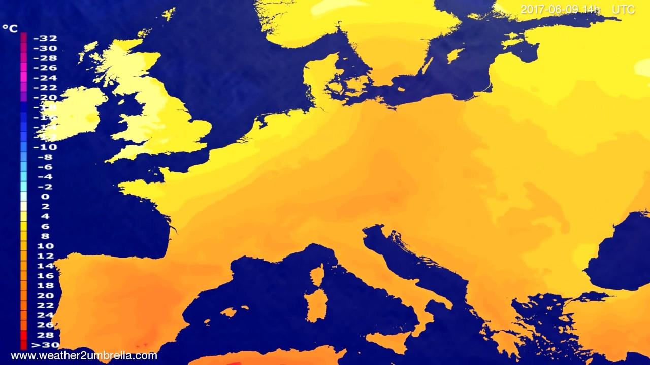 Temperature forecast Europe 2017-06-07