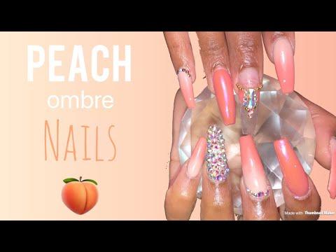 Acrylic Nails Fill Tutorial  Peach Ombré Nails