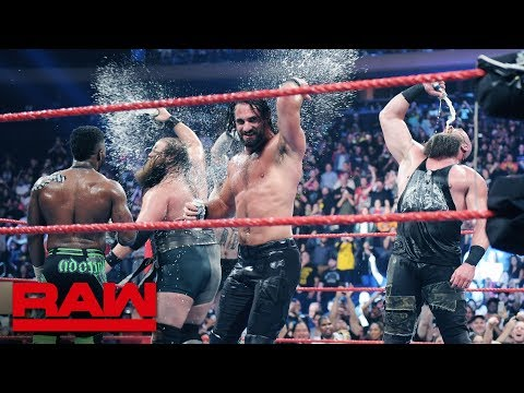 """""""Stone Cold"""" Steve Austin toasts AJ Styles with a Stunner after Raw: Raw Exclusive, Sept. 9, 2019"""