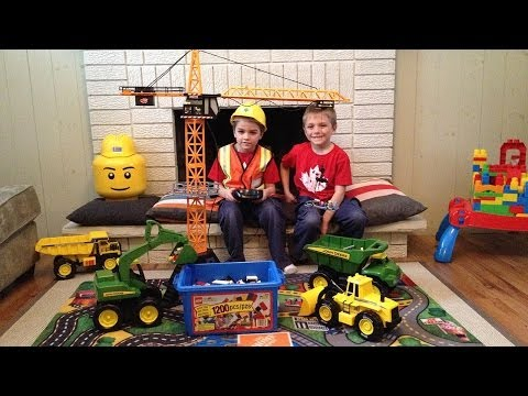 John Deere Construction Toys in action!. Crane & Excavator are back!!!