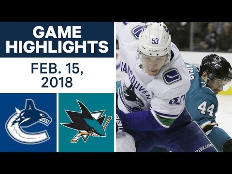 Video: NHL Game Highlights | Canucks vs. Sharks - Feb. 15, 2018
