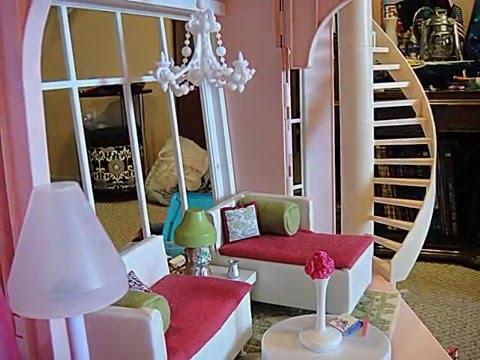 Barbie three story dream house Dollhouse tour customized w/ kidkraft wooden doll furniture
