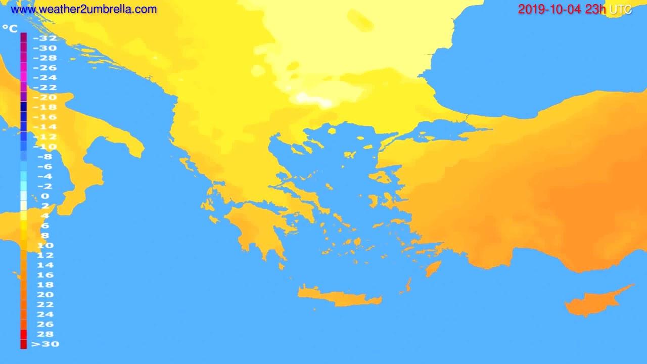 Temperature forecast Greece // modelrun: 12h UTC 2019-10-01