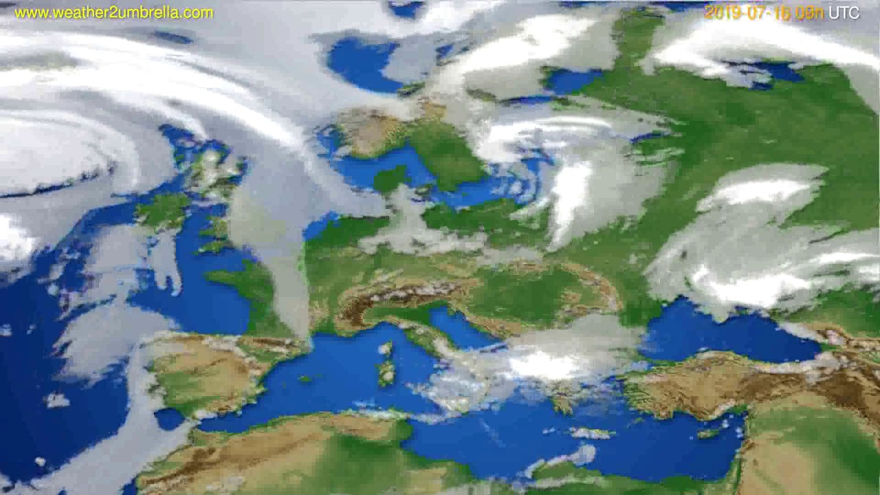 Cloud forecast Europe // modelrun: 12h UTC 2019-07-14