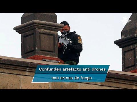 """Captan a hombres en azotea de Palacio Nacional; aseguran que """"arma"""" es para  drones"""