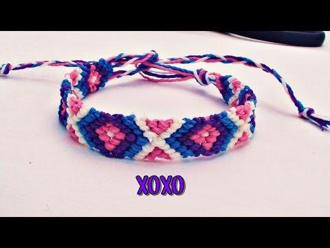 ●Como hacer una pulsera de hilo encerado modelo 'diamantes' o XOXO