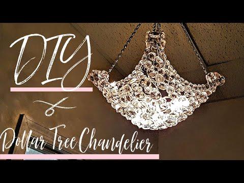 DIY Chandelier w/ mostly Dollar Tree items  Glam Decor  Light Fixture  Hanging Lamp  Room decor